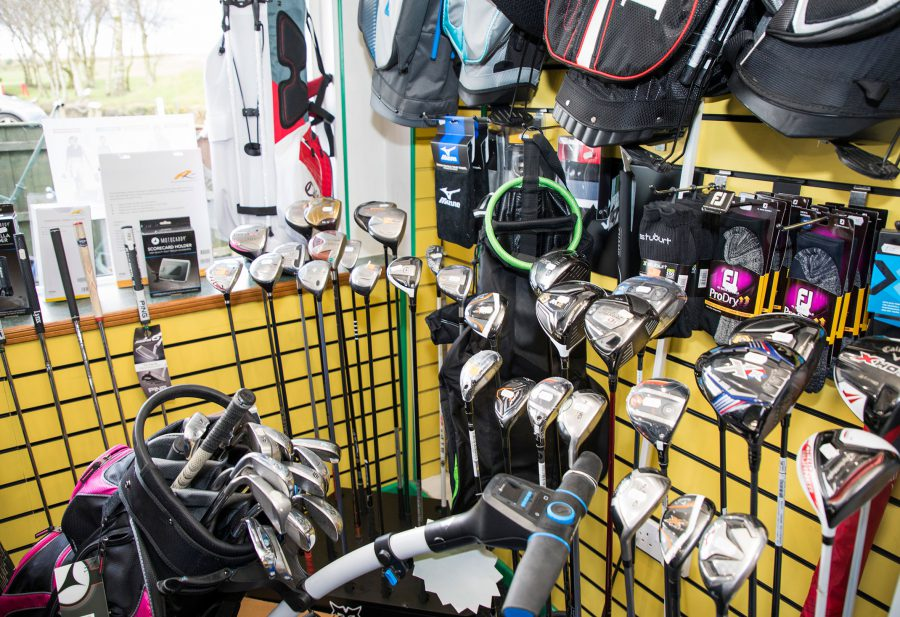 Inside the golf shop at Walmersley Golf Club