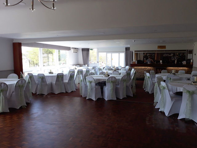 The function room set for a wedding at Walmersley Golf Club