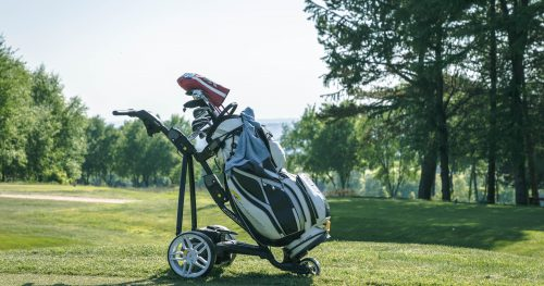 A golf trolley at Walmersley Golf Club